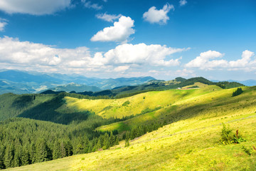 Canvas Prints Hill Green sunny valley in mountains