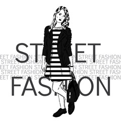 Pretty girl in fashionable clothes. Vector illustration for greeting card, poster. Fashion & Style.
