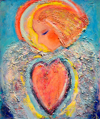 Beautiful acrylic painting on canvas of a mysterious angel in red heart surrounded by abstract wing. Hand drawn portrait