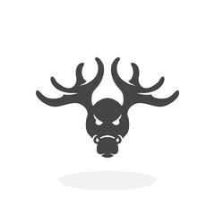 Christmas deer Icon. Vector logo on white background
