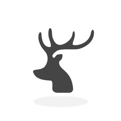 Christmas deer Icon. Vector logo on white background