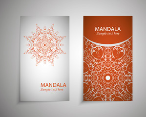 flyer, leaflet cover mandala, abstract Oriental motif. Hand painted texture background. Decorative elements for design print. Vector. EPS 10