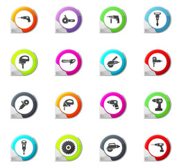 Power tools icons set