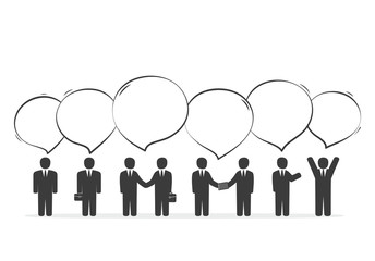 Group of business people with speech bubbles. Teamwork, Discussi