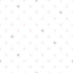 Hand drawn stars geometric seamless pattern. Pastel pink and gray color. Simple and delicate.