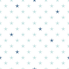 Hand drawn stars geometric seamless pattern. Blue colors. Simple and nice.
