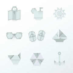 summer icons origami white color