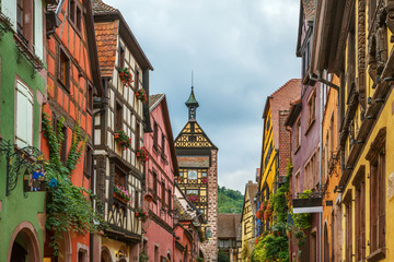 street in Riquewihr, Alsace, France