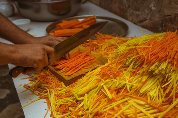 Cutting Carrot, Process of cooking traditional bulhara plov