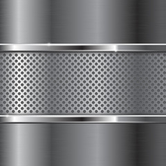 Metal background with perforated section