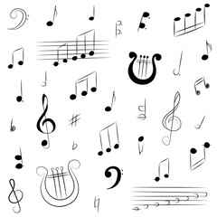 Hand Drawn Set of  Music Symbols.  Doodle Treble Clef, Bass Clef, Notes and Lyre. Vector Illustration.