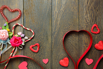 Top view valentines day background and decorations.