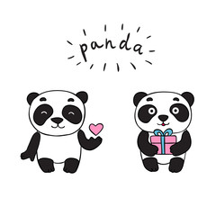 Doodle panda bears, isolated images for little kids. Panda is holding a heart, gift. Cute smiling panda character.