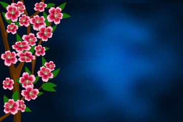 Branches of apple-tree with flowers and leaves on the abstract blue background