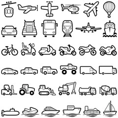 Transport icon collection - vector outline illustration