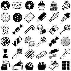Cookie and candy icon collection - vector illustration