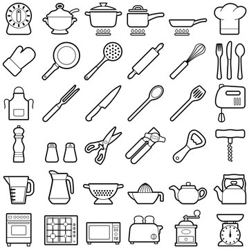 Kitchen tool icon collection - vector outline illustration