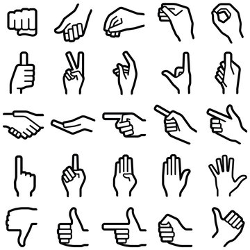 Hand icon collection - vector outline illustration
