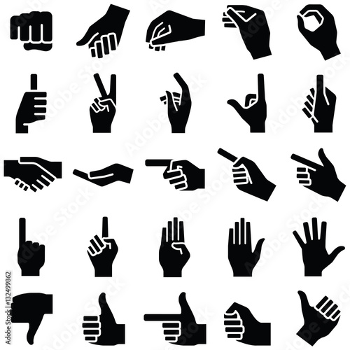 """Hand icon collection - vector silhouette illustration ..."