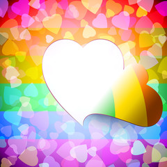 Open door from heart shape cut out on the LGBT-background of love signs; Greeting Card for Valentines Day and wedding for lesbian, gay, bisexual community; Vector background Eps10; Rainbow version