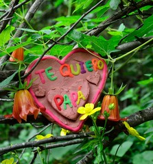 Heart of clay for the father´day among wildflowers