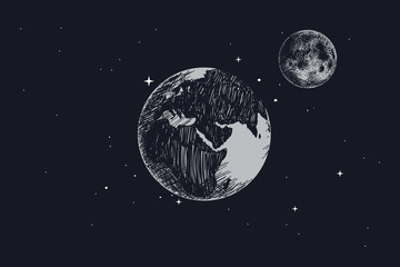 Earth with full moon in outer space