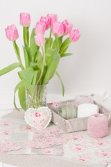 Handmade Heart And Napkins. Threads. Bouquet Of Tulips.