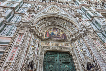 Facade front view of Florence Cathedral