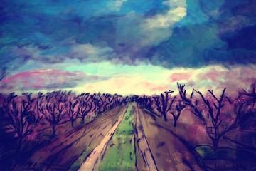 art watercolor spring landscape
