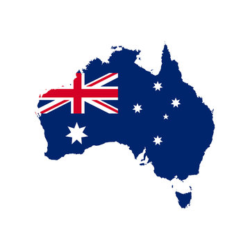 Map of Australia with national flag isolated on white background. Vector illustration.