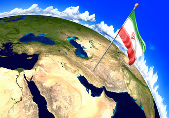 Iran national flag marking the country location on world map. 3D rendering, parts of this image furnished by NASA