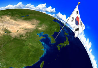 South Korea national flag marking the country location on world map. 3D rendering, parts of this image furnished by NASA