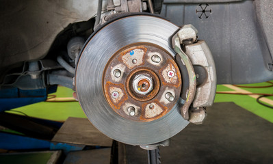Car brakes for stop the wheels. Parts of a car.