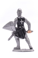 figurine a medieval knight isolated on white