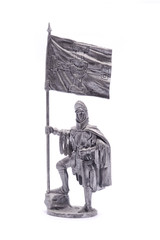tin soldier medieval knight  isolated on white