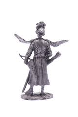 tin soldier Cossack figurine with wings isolated on white