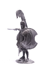 tin soldier Spartan warrior with sword and shield isolated on wh