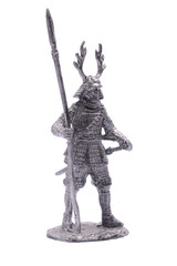 statuette of a Japanese soldier in armor with a spear