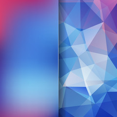 Abstract polygonal vector background. Colorful geometric vector illustration. Creative design template. Abstract vector background for use in design. Blue, pink colors.