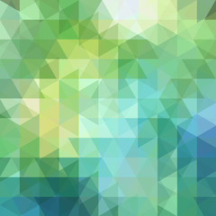 Background of geometric shapes. Abstract triangle geometrical background. Mosaic pattern. Vector EPS 10. Vector illustration. Yellow, green, blue colors.