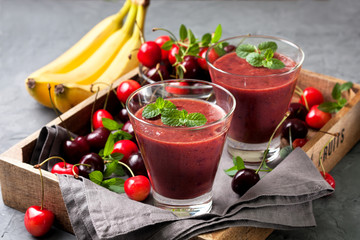 smoothie with cherry and banana