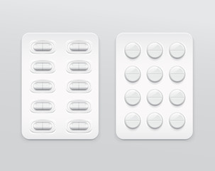Capsules and Pills in Blister Pack : Vector Illustration