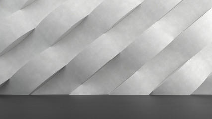 Dark concrete floor with abstract waves pattern background. 3D rendering.