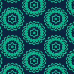 Vector Floral Pattern, Repeat Seamless Background, Blue and Green, Surface Pattern