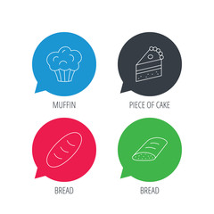 Colored speech bubbles. Sweet muffin, cake and bread icons. Piece of cake linear sign. Flat web buttons with linear icons. Vector