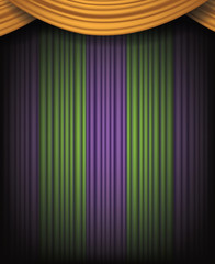 Mardi Gras background with spotlight and purple, gold and green dramatic curtains. For Mardi Gras party, celebration, invitation, sale or other event. EPS 10 vector.