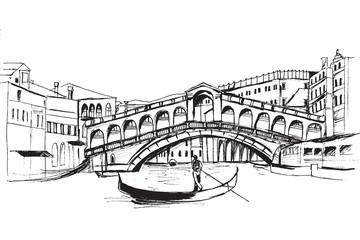 Panorama miasta Wenecja. Rysunek ręcznie rysowany na białym tle.