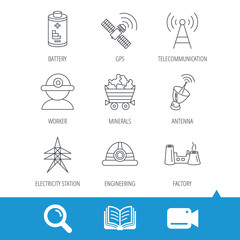 Worker, minerals and engineering helm icons. GPS satellite, electricity station and factory linear signs. Telecommunication, battery icons. Video cam, book and magnifier search icons. Vector