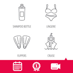 Achievement and video cam signs. Cruise, swimming flippers and lingerie icons. Shampoo bottle linear sign. Calendar icon. Vector