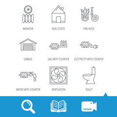 Ventilation, garage and heat radiator icons. Gas, water and electricity counter linear signs. Real estate, toilet and fire hose icons. Video cam, book and magnifier search icons. Vector